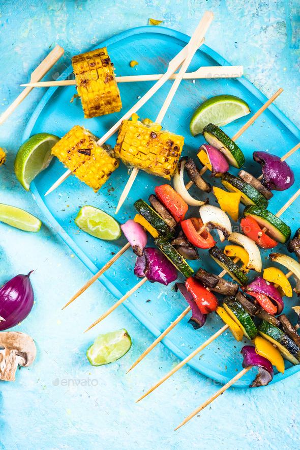 Grilled vegetable skewers, bbq menu - Stock Photo - Images