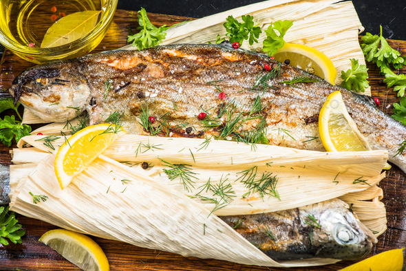 Healthy dish, grilled fish with herbs - Stock Photo - Images