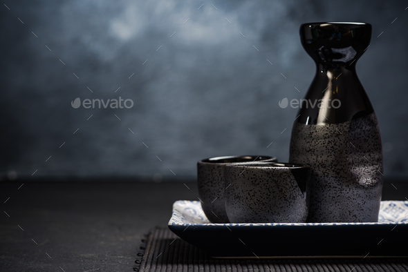 Sake traditional ceramic drinking set - Stock Photo - Images