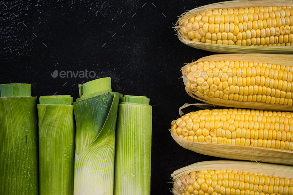 Leek and corn cob, vegetable flat lay - Stock Photo - Images
