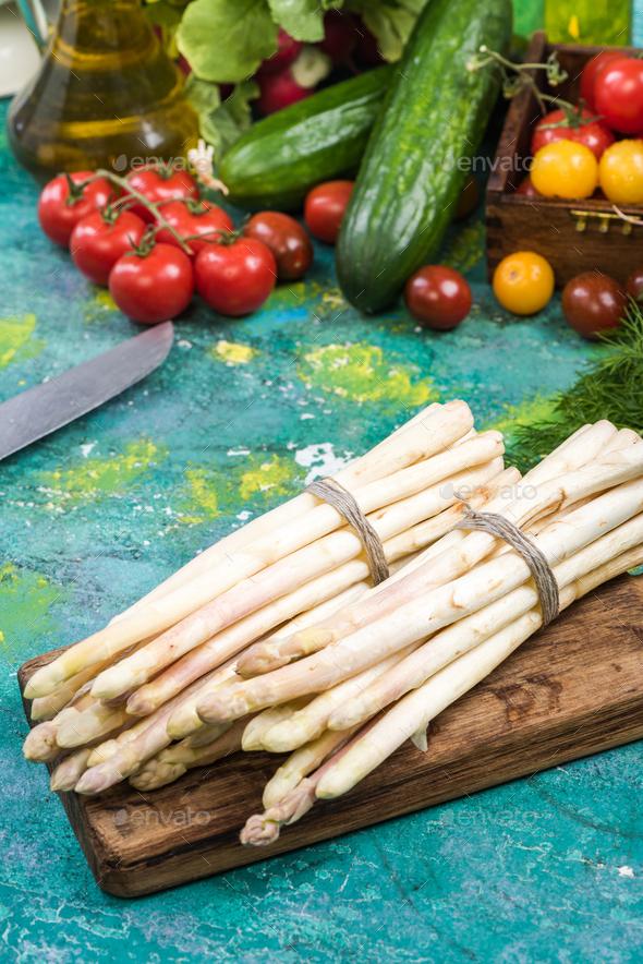 White asparagus on kitchen table, spring season - Stock Photo - Images