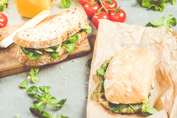 Preparing healthy sandwich for work or lunch - Stock Photo - Images