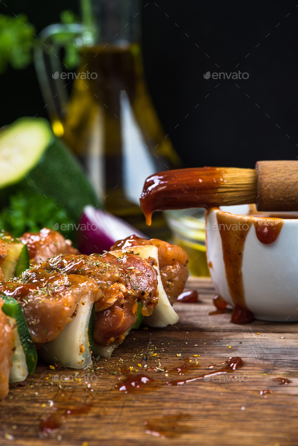 Preparing bbq food, grilled skewers - Stock Photo - Images
