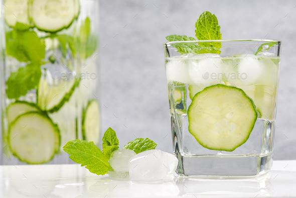 Healthy and diet cucumber and mint refreshing beverage - Stock Photo - Images