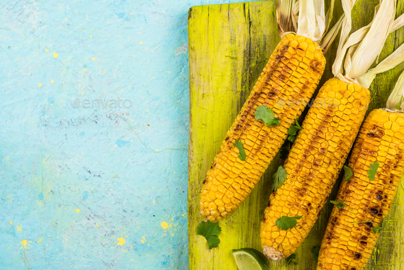 Grilled corn, food border background - Stock Photo - Images