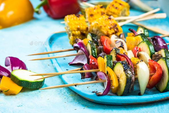 Vibrant vegetable skewers for barbecue - Stock Photo - Images