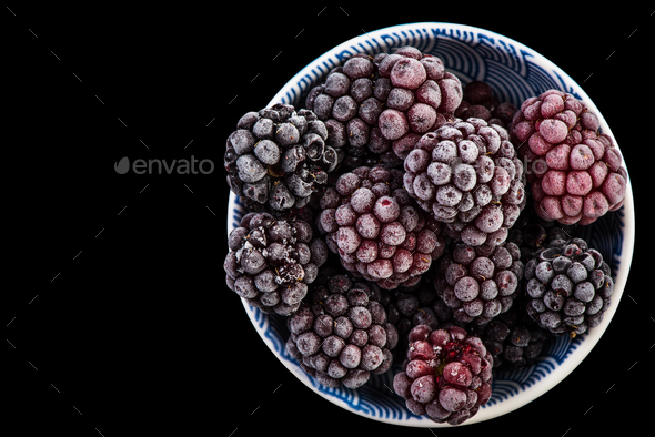 Frozen blackberry fruits, close up - Stock Photo - Images