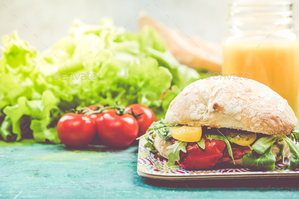 Diet bun with fresh vegetables - Stock Photo - Images