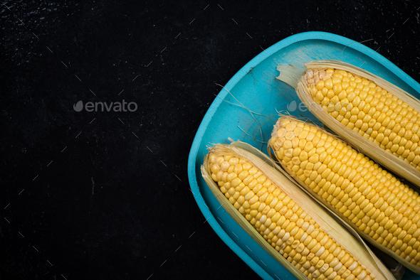 Fresh golden yellow corn cob - Stock Photo - Images