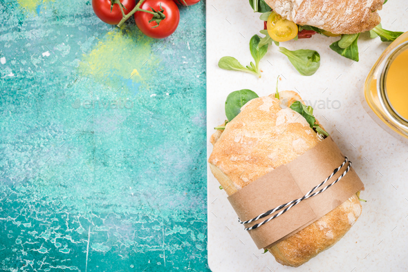 Preparing healthy sandwich,copy space - Stock Photo - Images