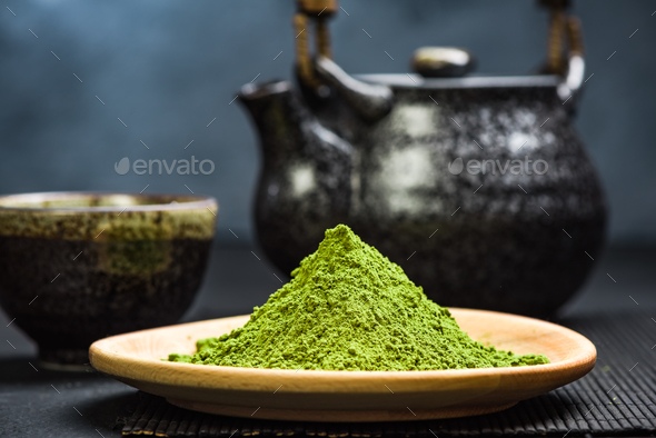 Organic matcha tea powder, oriental tea - Stock Photo - Images