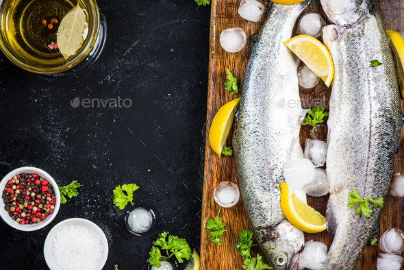 Fish restaurant menu template,copy space - Stock Photo - Images