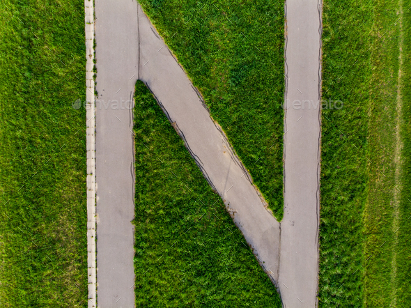 Abstract shape road and grass,aerial view - Stock Photo - Images