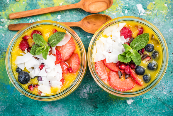 homemade super healthy breakfast in jars - Stock Photo - Images
