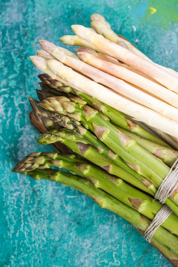 Bunch of green and white asparagus, top view - Stock Photo - Images