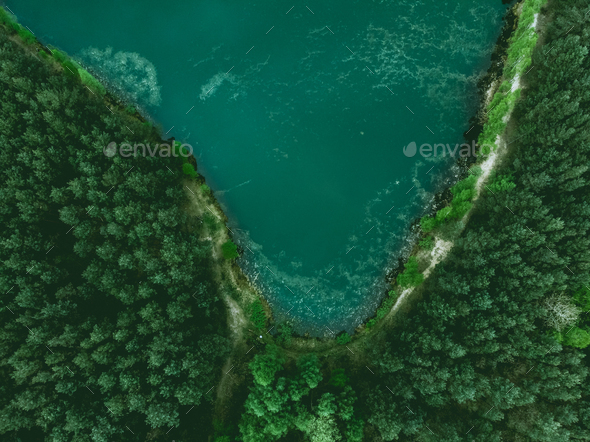 Pond and forest border from above - Stock Photo - Images