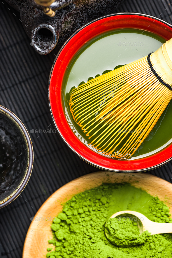 Oriental bowl with green matcha tea - Stock Photo - Images