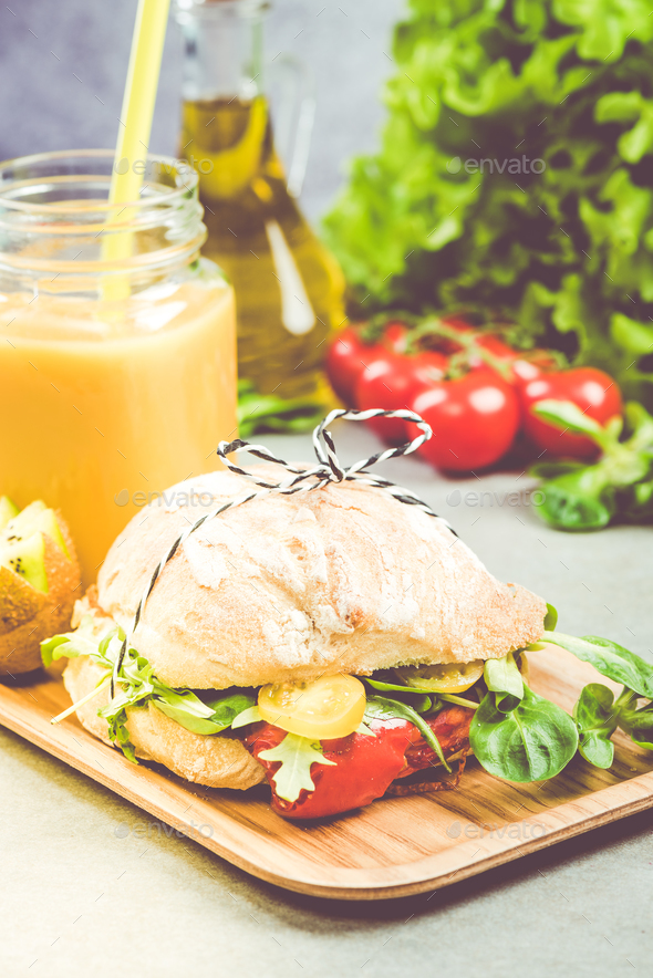 Homemade healthy salad sandwich - Stock Photo - Images