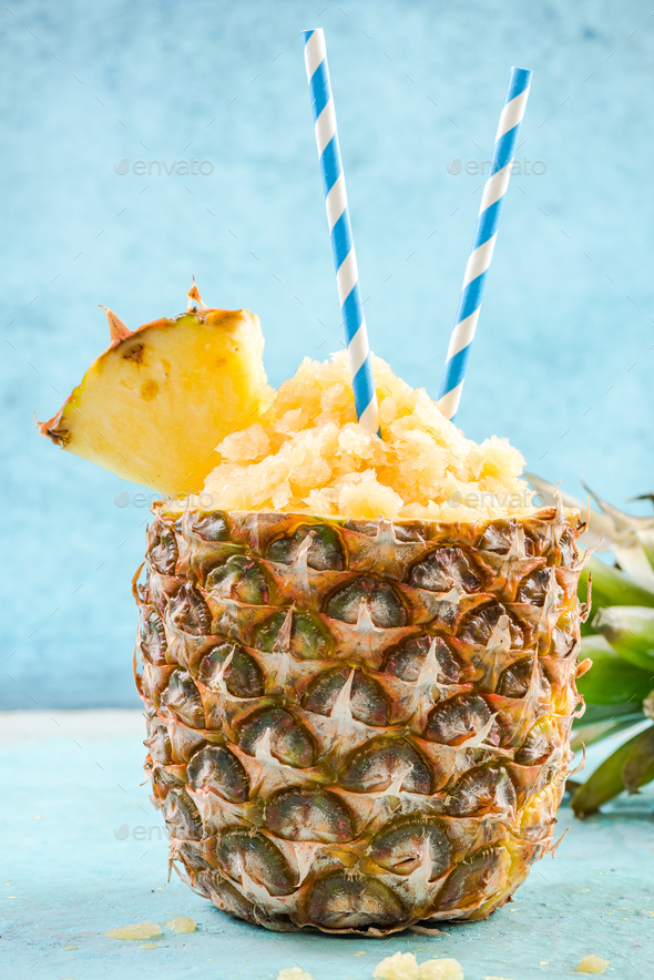 tropical cocktail,pineapple granita - Stock Photo - Images