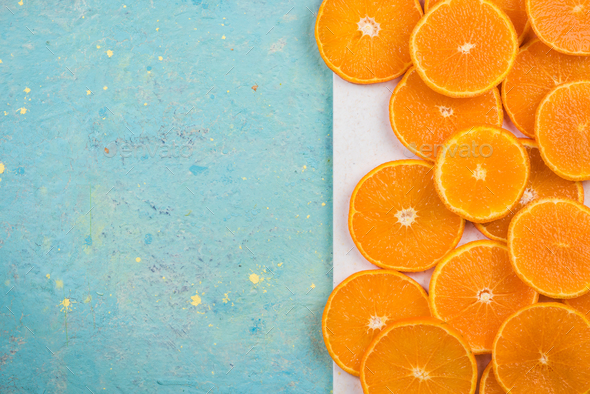 Orange slices, flat lay, top view. - Stock Photo - Images