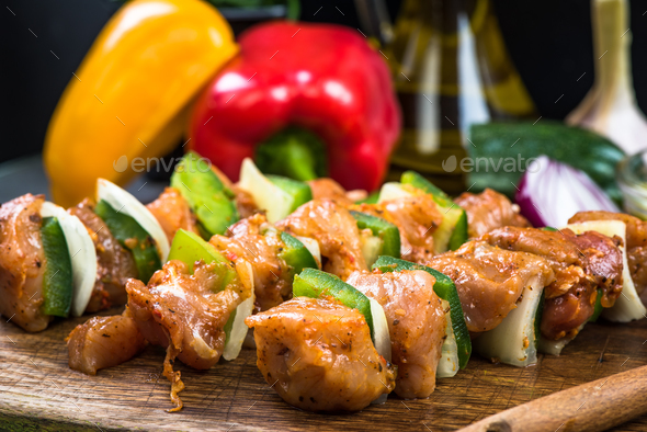 Meat skewers ready for barbecue - Stock Photo - Images