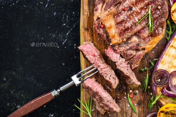 Grilled steak with vegetables, restaurant template - Stock Photo - Images