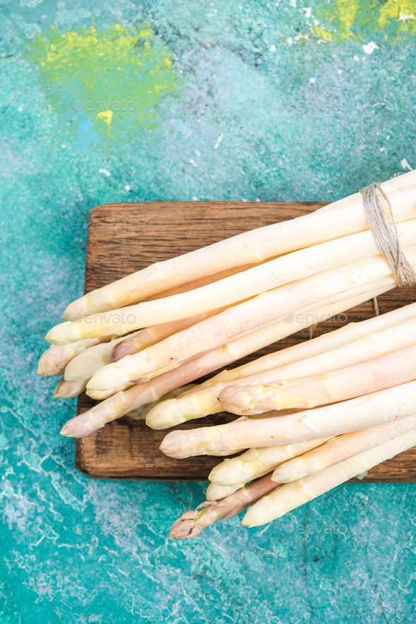 White asparagus bunch, top view - Stock Photo - Images