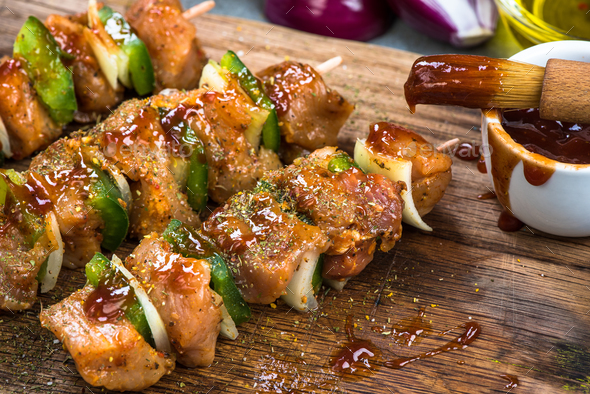 Mixed skewers with spieces and glaze - Stock Photo - Images