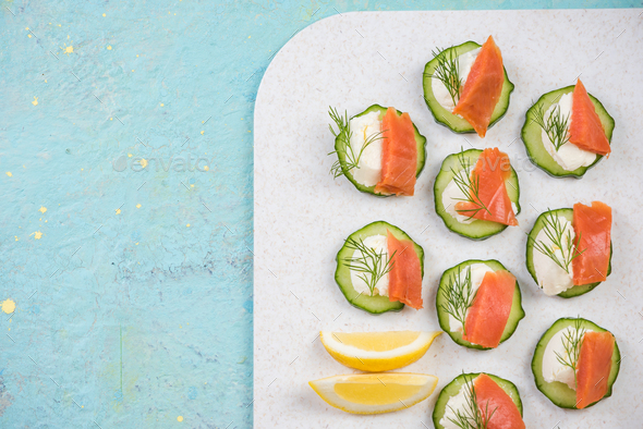 Colorful healthy canapee snack with cucumber - Stock Photo - Images