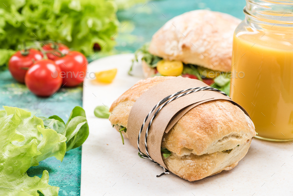 Wrapped diet breakfast for lunch at work or school - Stock Photo - Images
