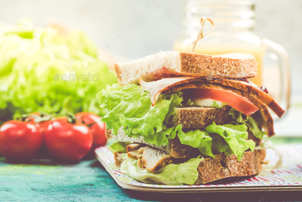 Super sandwich tower with fresh vegetables - Stock Photo - Images
