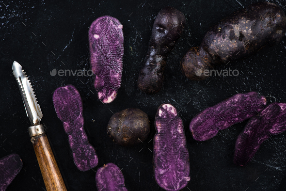 Culinary trends, purple potatoes - Stock Photo - Images