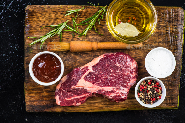 Preparing bees steak for BBQ - Stock Photo - Images