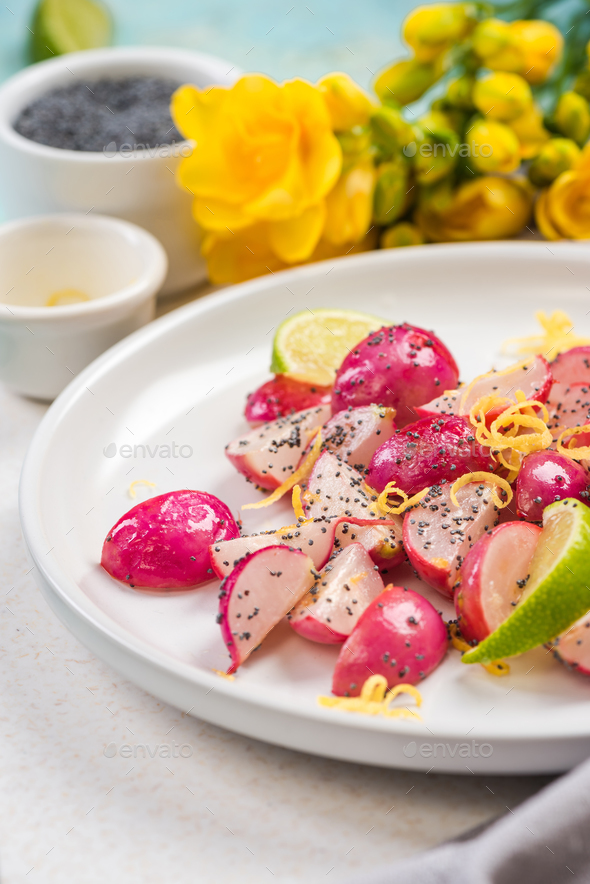 Refreshing radish and lime salad - Stock Photo - Images