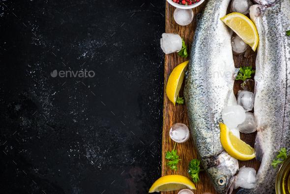 Fish restaurant menu template,copy space - Stock Photo - Images