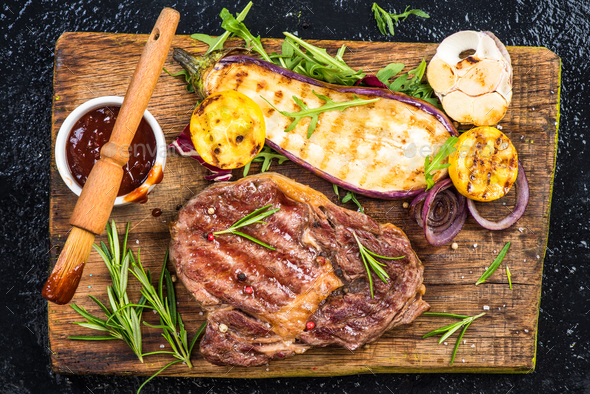 Perfect barbecue,grilled meat with vegetables and glaze - Stock Photo - Images