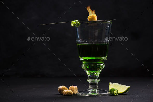 Traditional way for drinking Absinthe - Stock Photo - Images