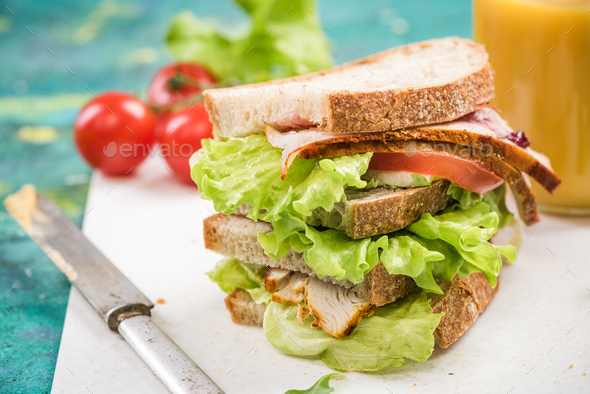 Tower healthy sandwich with ham and salad - Stock Photo - Images