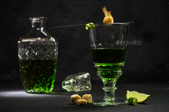 Traditional set for drinking Absinthe - Stock Photo - Images