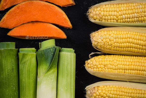 Market fresh vegetables,seasonal,flat lay - Stock Photo - Images