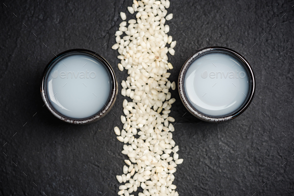 Japanese sake vodka and rice,copy space - Stock Photo - Images