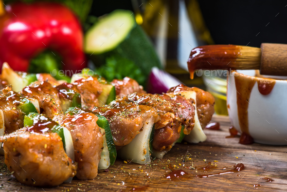 kebab skewers with meat and vegetables - Stock Photo - Images