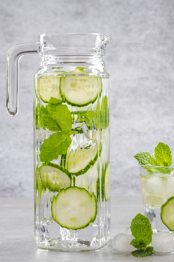 Ice cold refreshing cucumber and mint lemonade - Stock Photo - Images