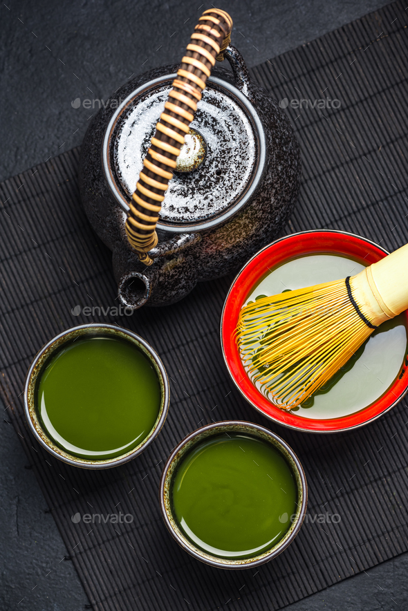 Oriental tea ceromony ceramic set - Stock Photo - Images