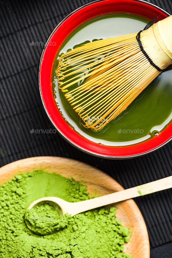Green matcha tea preparation - Stock Photo - Images