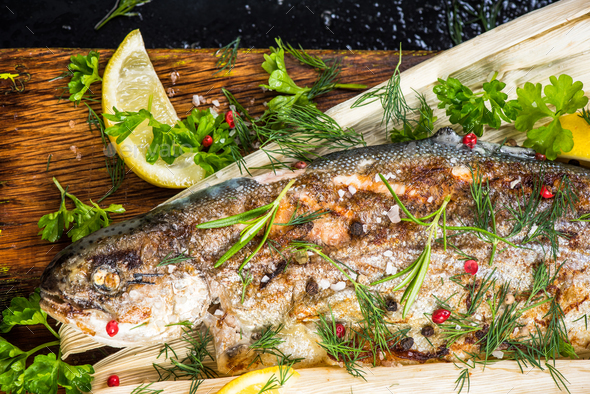 Localu sourced grilled trout fish - Stock Photo - Images