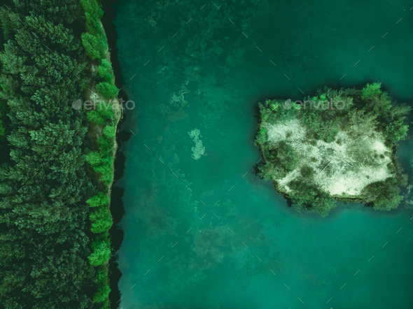 Wildernes,forest and small island on lake,aerial - Stock Photo - Images