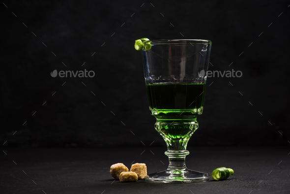 Modern drink serving,Absinthe - Stock Photo - Images