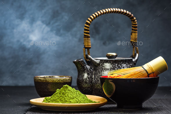 Green matcha tea,tea pot and bowl - Stock Photo - Images