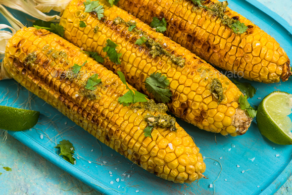 grilled corn,healthy grill food ideas - Stock Photo - Images